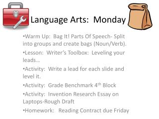 Language Arts:  Monday