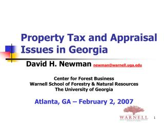 Property Tax and Appraisal Issues in Georgia