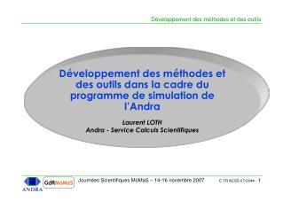 Développement des méthodes et des outils dans la cadre du programme de simulation de l'Andra