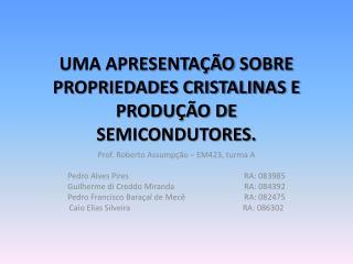Prof. Roberto Assumpção – EM423, turma A Pedro Alves PiresRA: 083985
