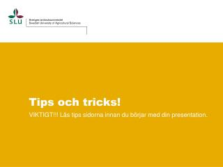 Tips och tricks!