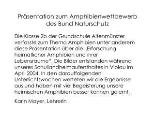 Präsentation zum Amphibienwettbewerb des Bund Naturschutz