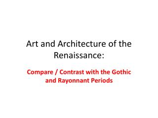 Art and Architecture of the Renaissance:
