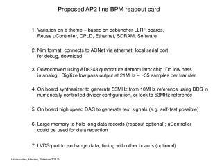 Proposed AP2 line BPM readout card