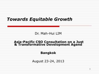 Towards Equitable Growth