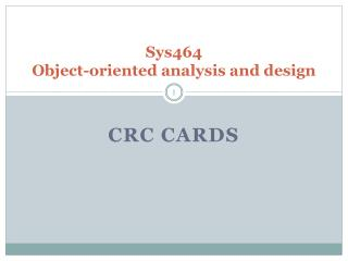 Sys464 Object-oriented analysis and design