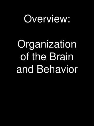Overview: Organization of the Brain and Behavior