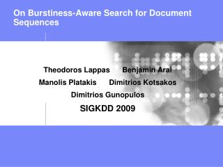 On Burstiness-Aware Search for Document Sequences