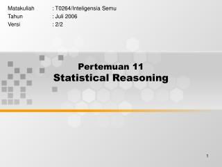 Pertemuan 11 Statistical Reasoning