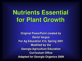 Nutrients Essential for Plant Growth