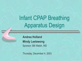 Infant CPAP Breathing Apparatus Design