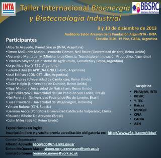Taller Internacional  Bioenergía y  Biotecnología  Industrial