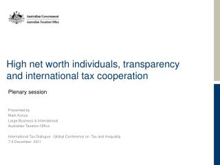 High net worth individuals, transparency and international tax cooperation