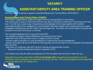 VACANCY  ASSISTANT/DEPUTY AREA TRAINING OFFICER