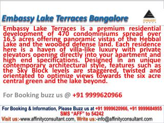 Embassy Group Lake Terraces Hebbal  Bangalore @ 09999620966