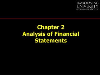 Chapter 2  Analysis of Financial Statements