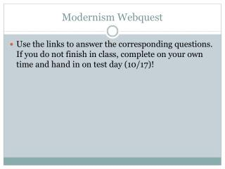 Modernism Webquest