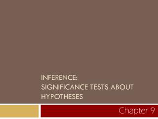 INFERENCE:   SIGNIFICANCE TESTS ABOUT HYPOTHESES