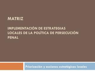 Matriz  Implementación de Estrategias  Locales de la Política de Persecución Penal