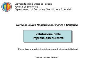 Valutazione delle  imprese assicurative