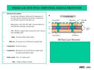 FERMI LAB -FIVE FP1X1 CHIPS PIXEL MODULE PROTOTYPE