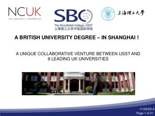 A BRITISH UNIVERSITY DEGREE – IN SHANGHAI !