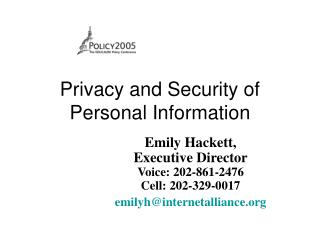 Privacy and Security of Personal Information