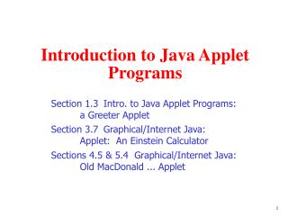 Introduction to Java Applet Programs