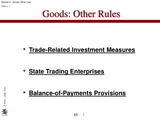 Goods: Other Rules