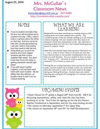 Mrs. McCullar ' s  Classroom News hmccullar@lcps.k12.nm    527-9490