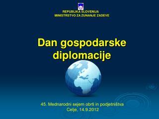 REPUBLIKA SLOVENIJA MINISTRSTVO ZA ZUNANJE ZADEVE Dan gospodarske diplomacije