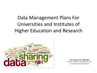 Data Management Plans For Universities and Institutes of  Higher Education and Research