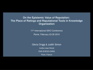 On the Epistemic Value of Reputation:�