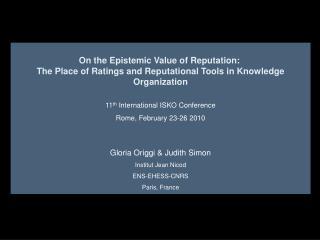 On the Epistemic Value of Reputation: