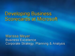 1205 Scorecards at Microsoft   Customers  Partners