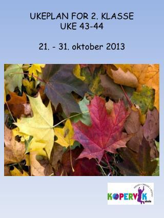 UKEPLAN FOR 2. KLASSE UKE 43-44 21. - 31. oktober 2013