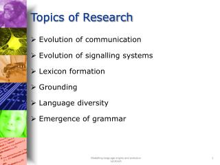 Topics of Research