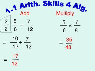 1.1 Arith. Skills 4 Alg.