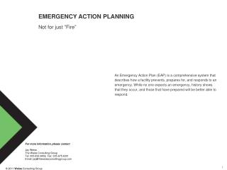 "EMERGENCY ACTION PLANNING Not for just ""Fire"""