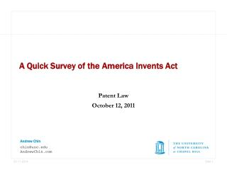 A Quick Survey of the America Invents Act