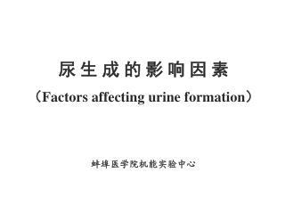 尿 生 成 的 影 响 因 素 ( Factors affecting urine formation ) 蚌埠医学院机能实验中心