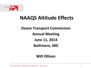 NAAQS Altitude Effects