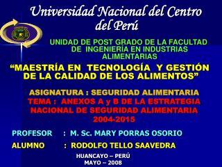 Universidad Nacional del Centro del Per�