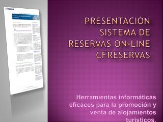 Presentación SISTEMA DE RESERVAS ON-LINE CFReservas