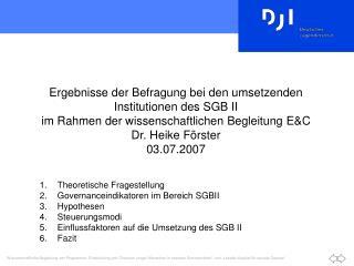 Ergebnisse der Befragung bei den umsetzenden Institutionen des SGB II