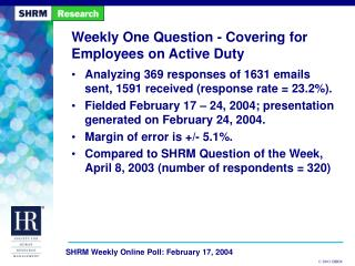 Weekly One Question - Covering for Employees on Active Duty