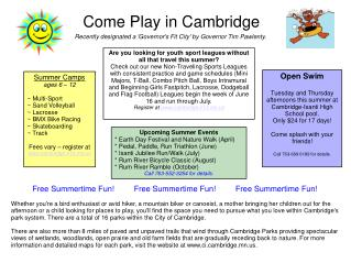 Come Play in Cambridge