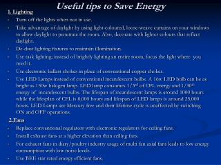 Useful tips to Save Energy