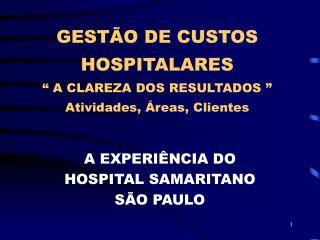 GEST O DE CUSTOS HOSPITALARES    A CLAREZA DOS RESULTADOS   Atividades,  reas, Clientes