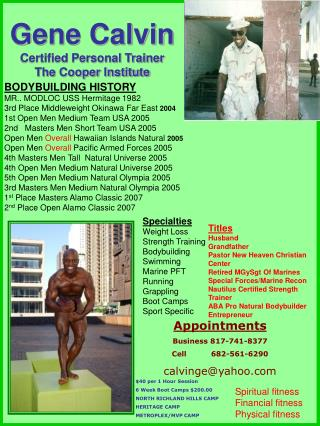 Gene Calvin Certified Personal Trainer The Cooper Institute